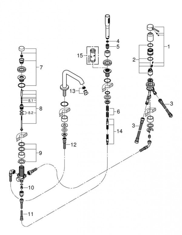 Zdjęcie Bateria wannowa 4-otworowa Grohe Essence New Chrom 19578001