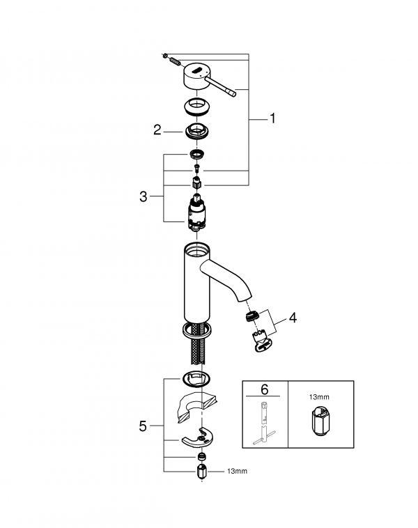 Zdjęcie Bateria umywalkowa jednouchwytowa GROHE Essence Brushed Hard Graphite Grafit 23590AL1