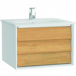 Szafka z umywalką Vitra Frame 60 cm biały / dąb szuflada 61216