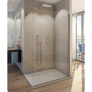 Ścianka prysznicowa Walk-In 120 cm wolnostojąca czarny mat/szkło przezroczyste STR4P1200607